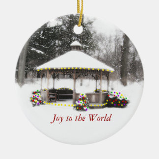 """GAZEBO IN THE SNOW-COVERED WOOD"" CERAMIC ORNAMENT"