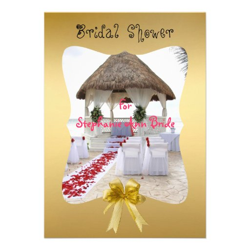 Gazebo On The Beach Wedding Bridal Shower Card