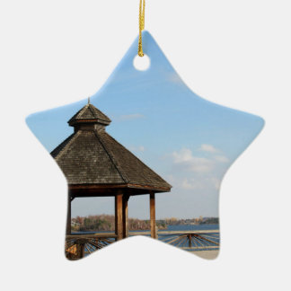 Gazebo over Lake Ceramic Ornament