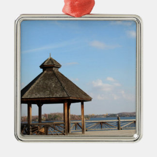 Gazebo over Lake Metal Ornament