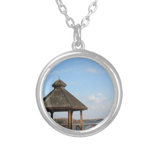Gazebo over Lake Silver Plated Necklace
