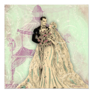 Gazebo Pagoda Vintage Wedding Announcement