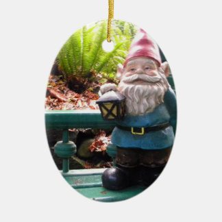 Gazeebo Gnome Ceramic Oval Ornament