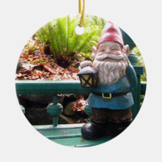 Gazeebo Gnome Round Ceramic Ornament