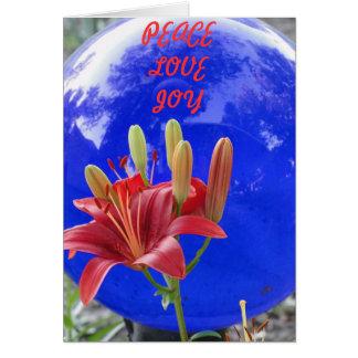 Gazing Ball/Peace, Love, Joy Greeting Card