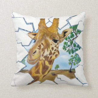 "Gazing Giraffe Throw Pillow (16""x16"")"