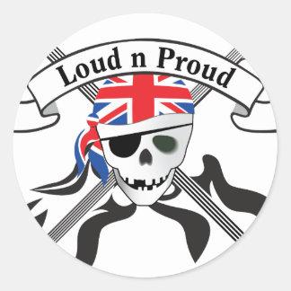 GB Scull & Guitars Classic Round Sticker