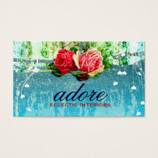 GC Adore in Roses Vintage Turquoise Blue Business Card