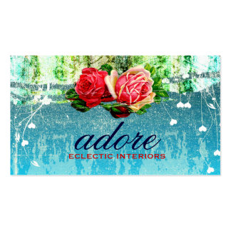 GC Adore in Roses Vintage Turquoise Blue Pack Of Standard Business Cards
