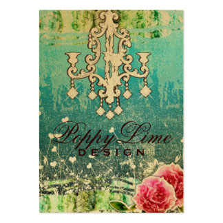 GC Adore Vintage Crystals Turquoise Metallic Business Card Templates