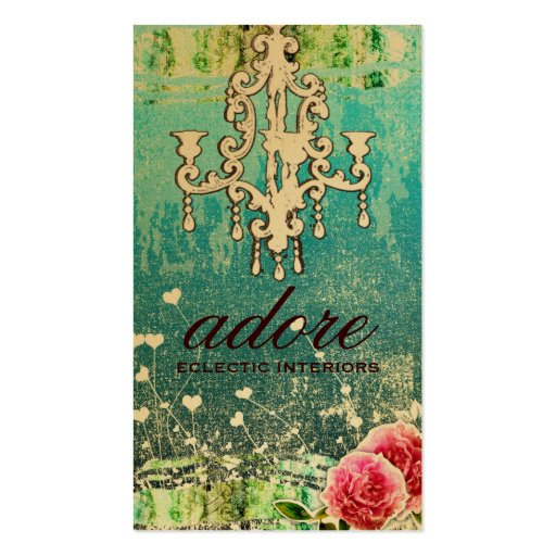 GC Adore Vintage Turquoise Gold Metallic Business Card Template
