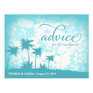 GC Aqua Newlywed Advice Card Tropical Palm Postcard