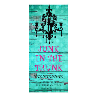 GC Aqua Vintage Wood & Chandelier Rack Card