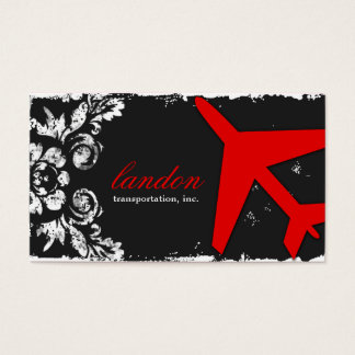 GC AVIATION TAKE OFF Red Charcoal Damask Business Card