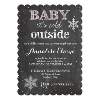 "GC Baby It's Cold Outside Winter Birthday 5"" X 7"" Invitation Card"