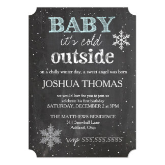 """GC Baby It's Cold Outside Winter Birthday Boy 5"""" X 7"""" Invitation Card"""