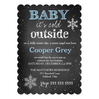 "GC Blue Baby It's Cold Outside Winter Birthday 5"" X 7"" Invitation Card"