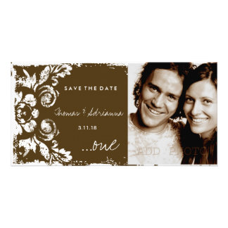 GC | Brown Vintage Damask Save the Date Card
