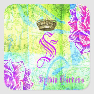 GC Cali Vibrant Garden Crown Purple Garden Flowers Square Sticker