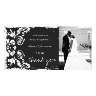 GC | Charcoal Vintage Damask Horizontal Thank You Picture Card