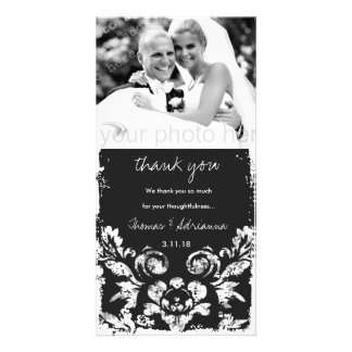 GC | Charcoal Vintage Damask Vertical Thank You Picture Card