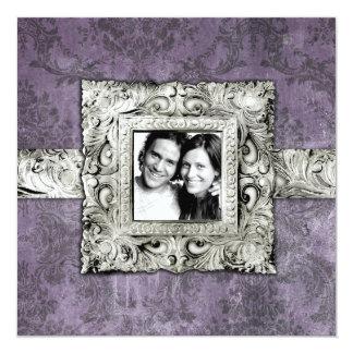 GC   Eggplant Damask   Vintage Frame Card