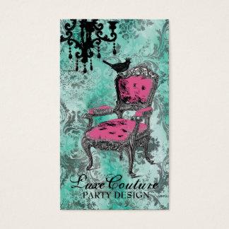 GC Fabulously French Turquoise Damask Business Card