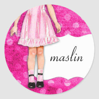 GC | Girly Girl Doll Pink Round Sticker