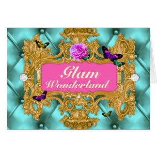 GC Glam Wonderland Gold Aqua Tuft Card