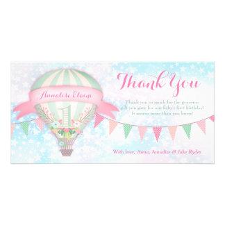 GC Hot Air Balloon First Birthday Thank You Card