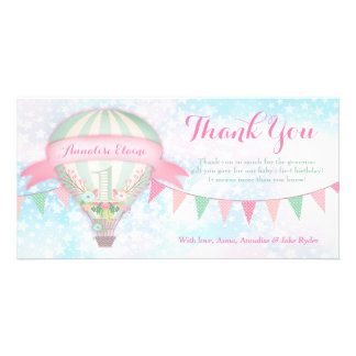 GC Hot Air Balloon First Birthday Thank You Photo Cards
