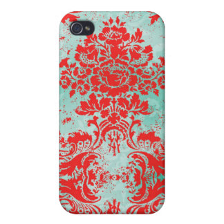 GC iPhone 4 Vintage Turquoise Red damask Case For The iPhone 4