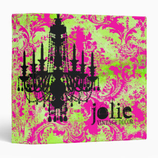 GC | Jolie Chandelier Hot Lime Damask 3 Ring Binders