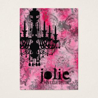 GC | Jolie Chandelier Pink Gray Damask Business Card