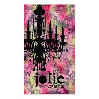 GC Jolie Chandelier Pink Gray Damask Business Cards
