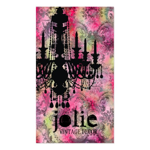 GC | Jolie Chandelier Pink Gray Damask Business Cards