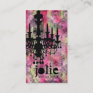 Chandelier business cards profile cards zazzle ca gc jolie chandelier pink grey damask business card reheart Gallery