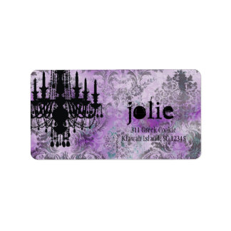 GC   Jolie Chandelier Purple Gray Damask Label