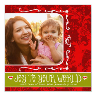 GC | Joy to Your World Red Vintage with Hearts Card