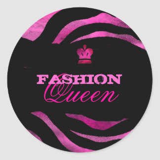GC Luscious PInk Grunge Queen Classic Round Sticker