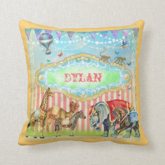 GC Magical Join the Circus Vintage Blue Throw Pillow