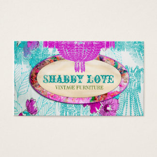 GC Purple Aqua Shabby Love Business Card
