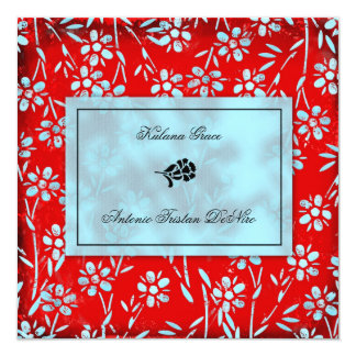 GC | Ruby Red & Turquoise Garden Square Inivtation Card