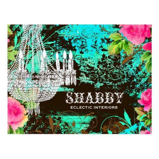 GC Shabby Aqua Garden Couture Chandelier Postcard