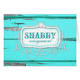GC Shabby Aqua Wood Thank You Card