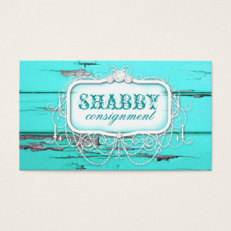GC Shabby Vintage Aqua Wood Business Card