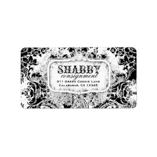GC Shabby Vintage Black & White Damask Label