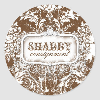 GC Shabby Vintage Brown & White Sticker