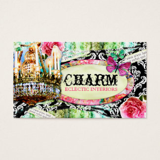 GC  Shabby Vintage Charm Black Damask Business Card