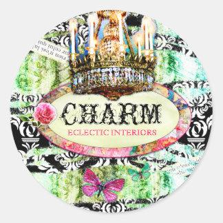 GC Shabby Vintage Charm - Black Damask Classic Round Sticker